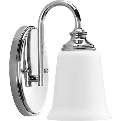 Wander Collection 1-Light Polished Chrome Bath Sconce with Etched Glass Shade