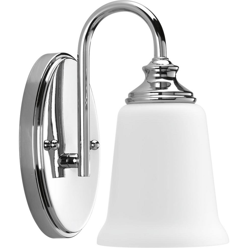 Progress lighting wander collection 1 light polished for Chrome bathroom sconce with shade