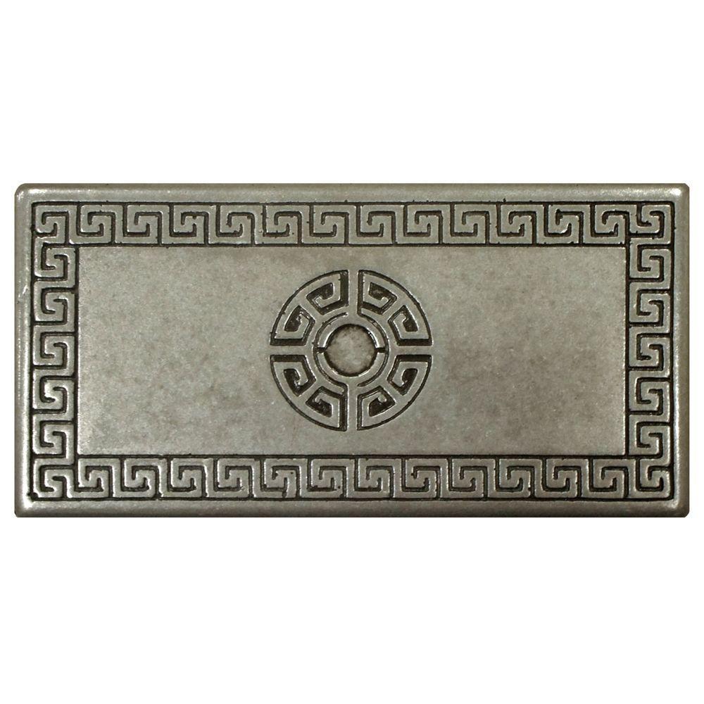 Merola Tile Contempo Greek Key Deco Pewter 6 in. x 3 in. Metallic Wall Trim Tile