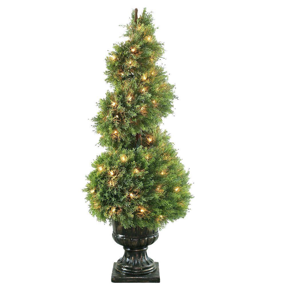 48 in. Upright Juniper Spiral Tree in Decorative Urn with 100 Clear Lights