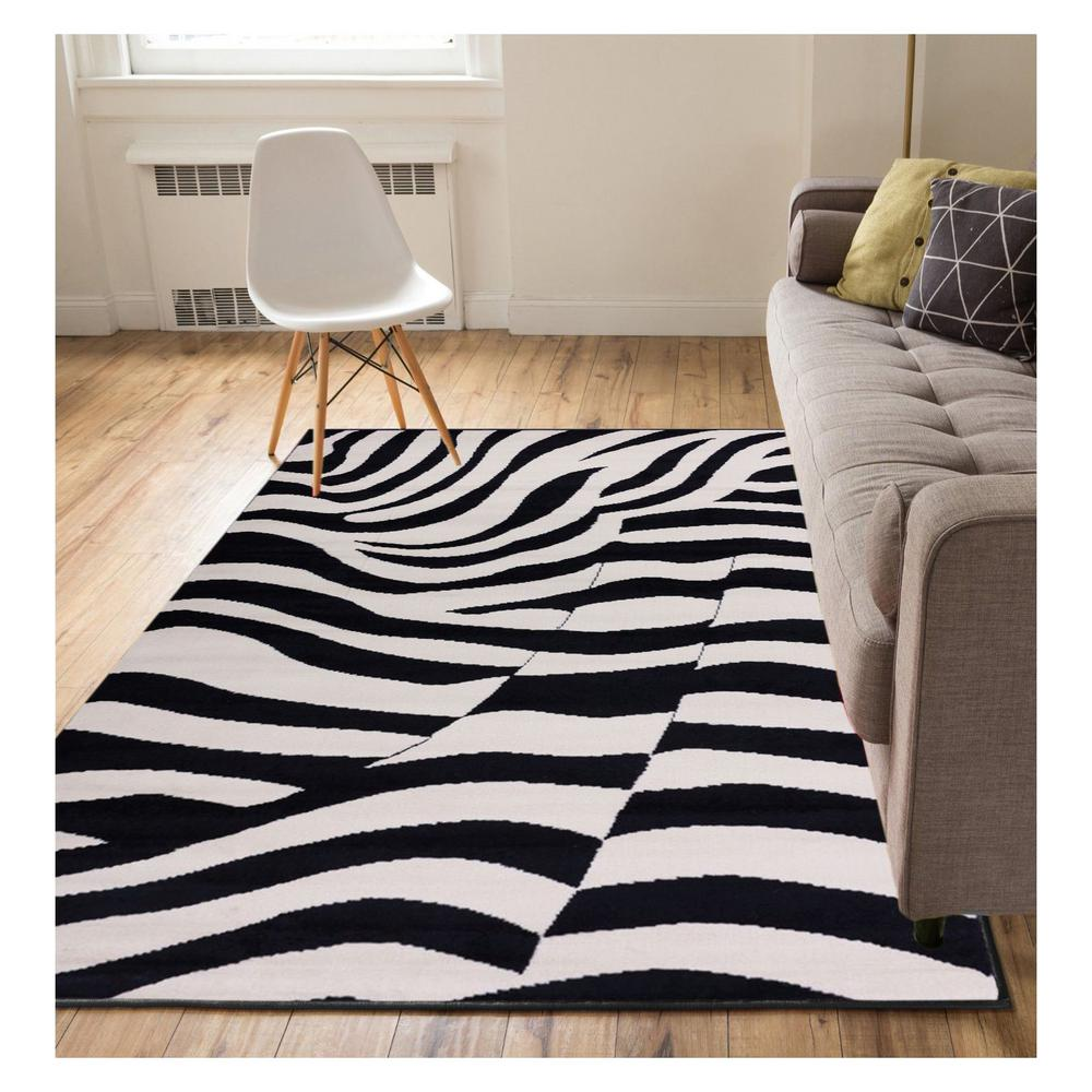Well Woven Miami Zebra Animal Print Stripe Black 5 Ft. X 7