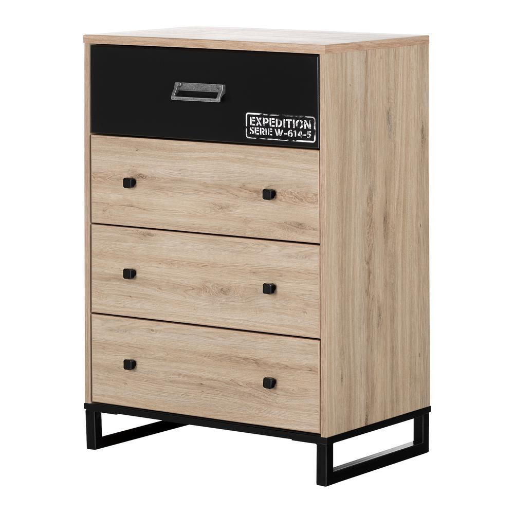 South shore induzy 4 drawer rustic oak and matte black chest