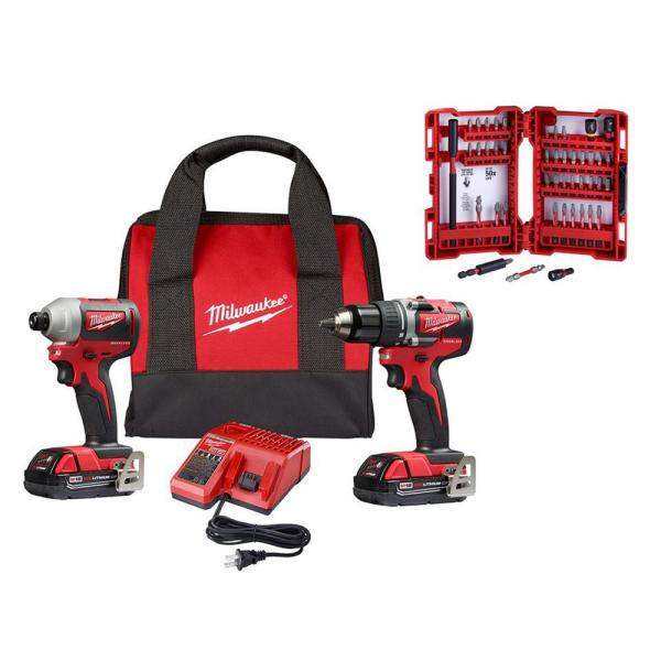 M18 18-Volt Lithium-Ion Brushless Cordless Compact Drill/Impact Combo Kit (2-Tool) with SHOCKWAVE Bit Set (45-Piece)