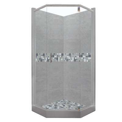 Newport Grand Hinged 42 in. x 42 in. x 80 in. Neo-Angle Shower Kit in Wet Cement and Chrome Hardware