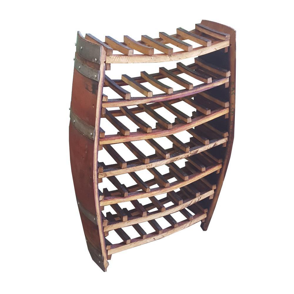 36 in. H x 26 in. W 42-Bottles Whole Barrel Wine Rack from Reclaimed Wine Barrels