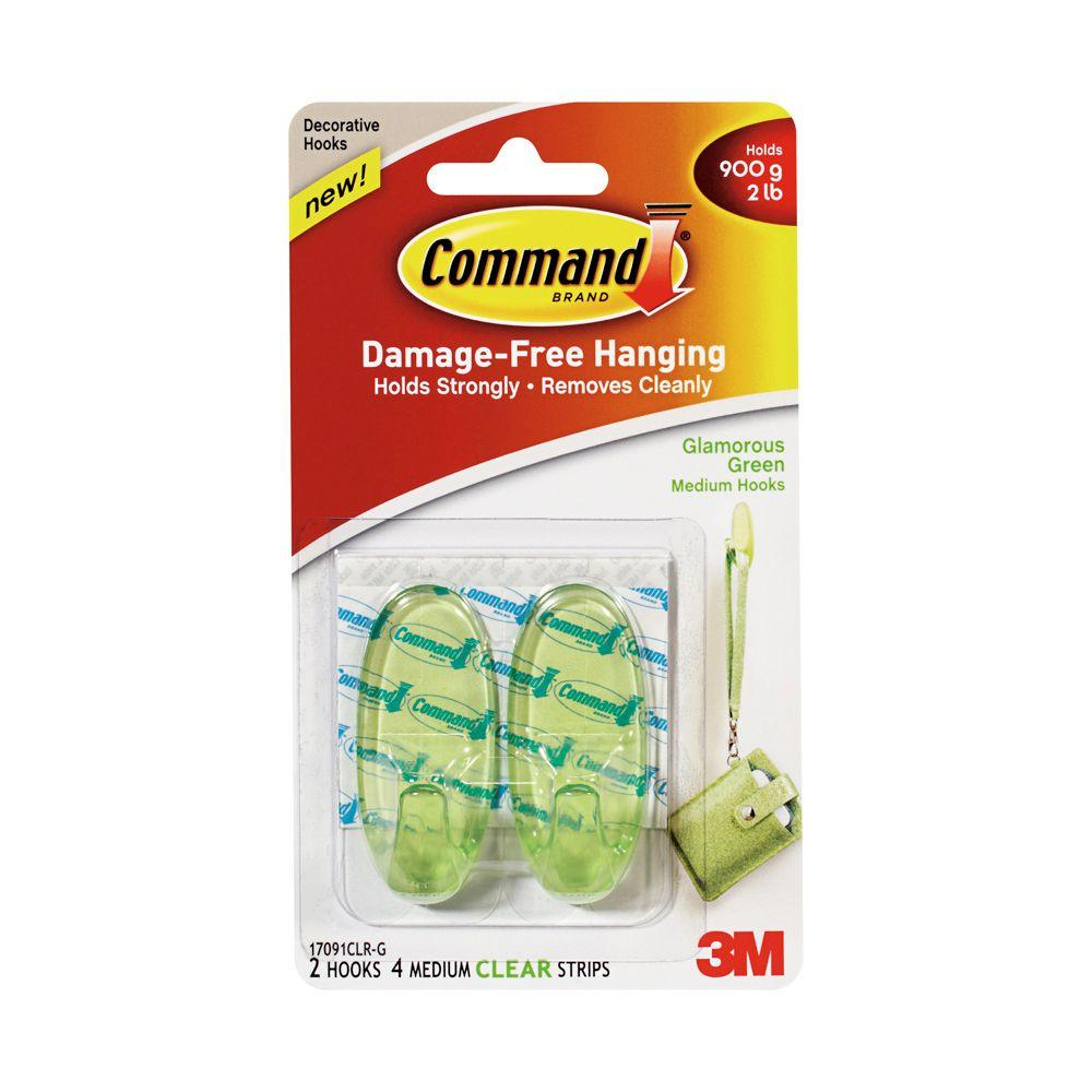 Medium Glamorous Green Clear Hook With Strip 6 Piece Per Pack