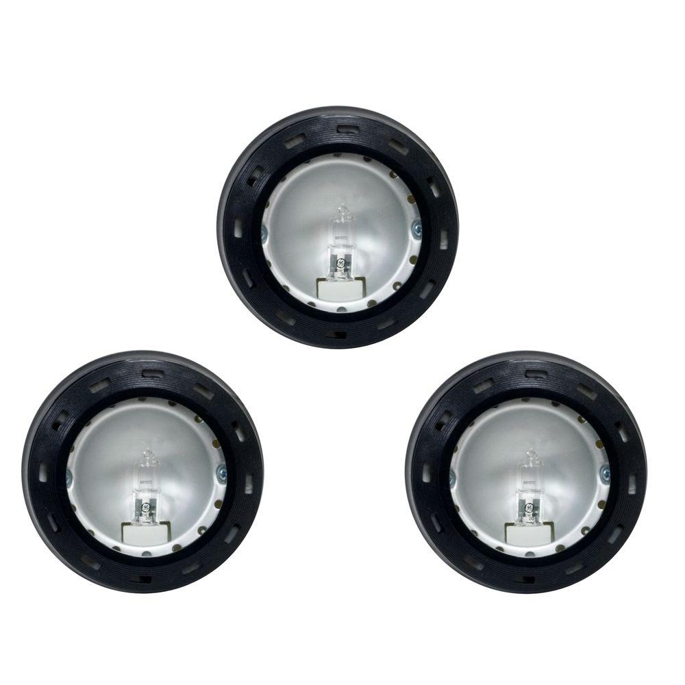 Hampton Bay 12-Volt Xenon Black Puck Lights (3-Pack)-10266