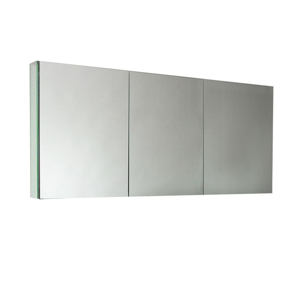 Fresca 59 in. W x 26 in. H x 5 in. D Frameless Glass Recessed or Surface-Mount 4-Shelf Bathroom Medicine Cabinet