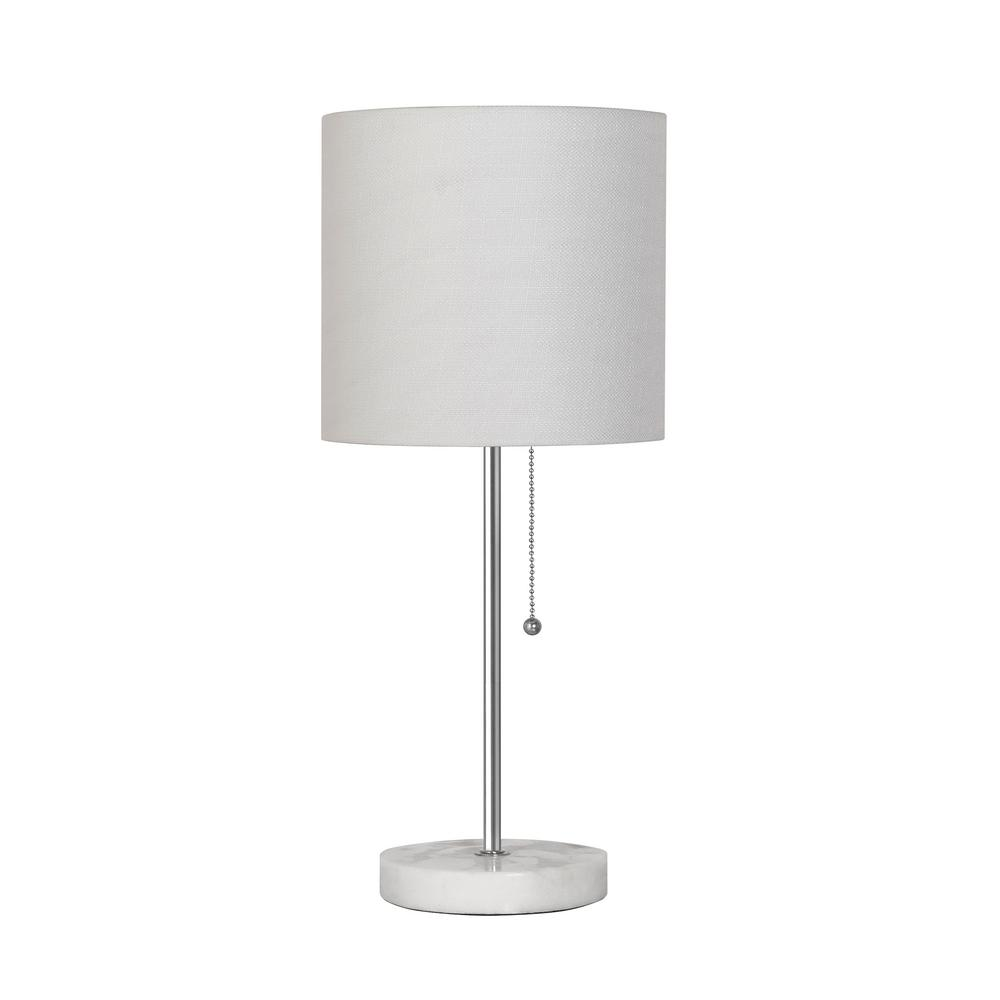 hamptonbay Hampton Bay 19.25 in. Stick Table Lamp - Brushed Nickel Finish