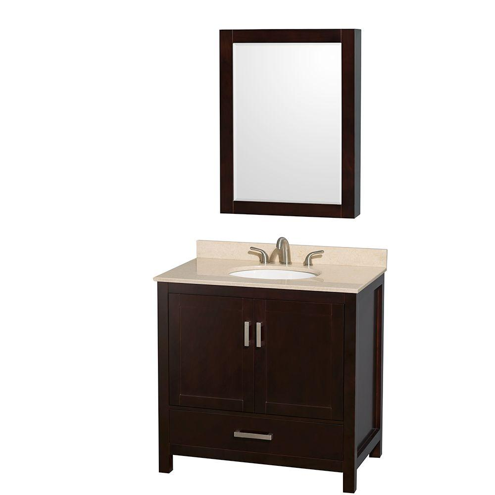 Wyndham Sheffield 36 in. Vanity in Espresso with Marble V...