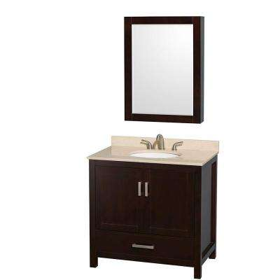 Sheffield 36 in. Vanity in Espresso with Marble Vanity Top in Ivory and Medicine Cabinet