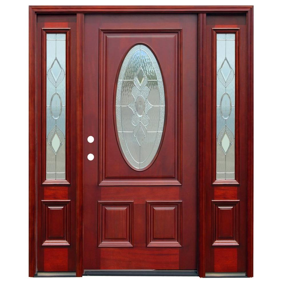 Pacific Entries 70 in. x 80 in. Strathmore Traditional 3/4 Lite Stained Mahogany Wood Prehung Front Door with 14 in. Sidelites