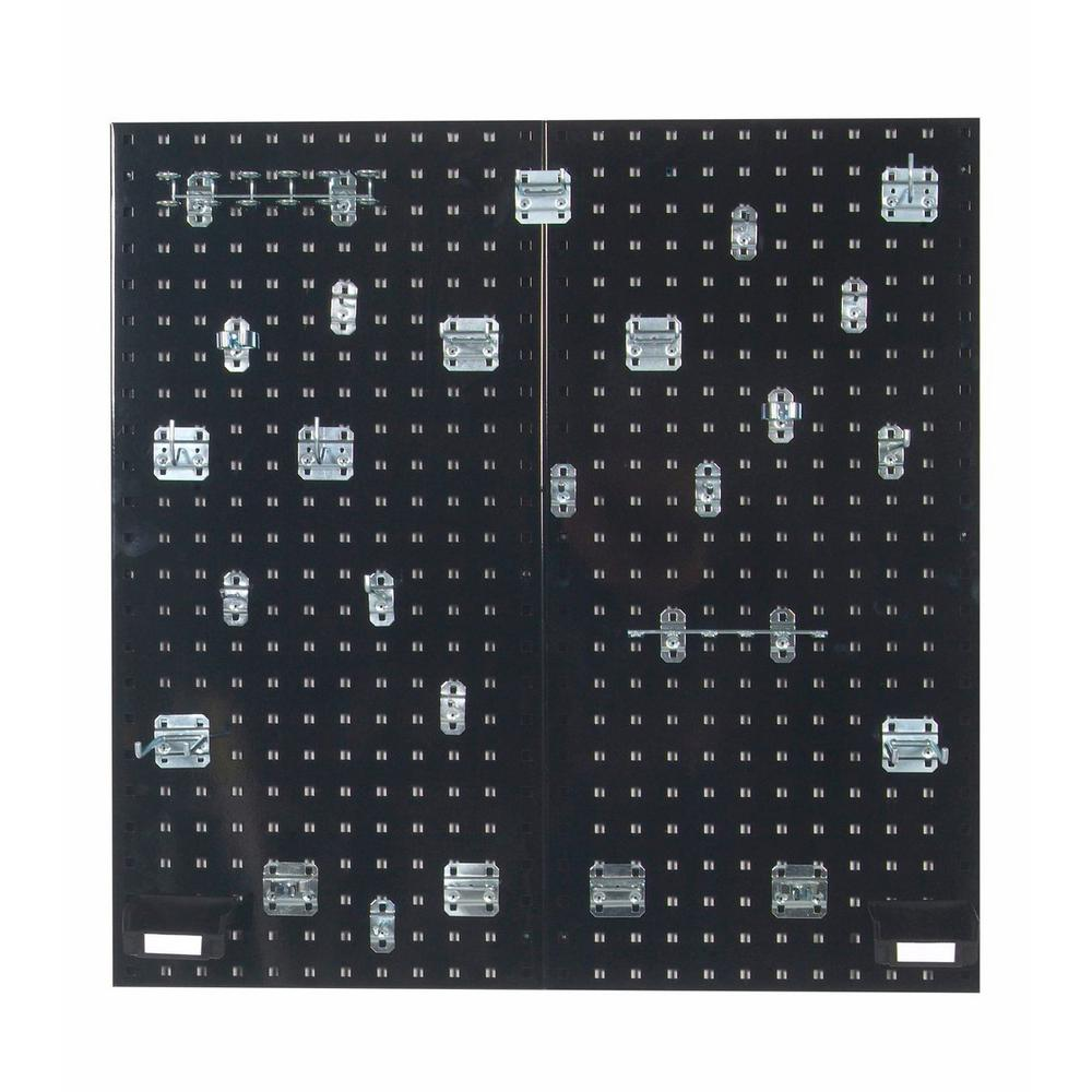 3/8 in. (2) Black Steel Square Hole Pegboard Organizer Kit