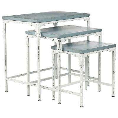 Timmy Distressed White And Distressed Pale Blue Stacking End Table