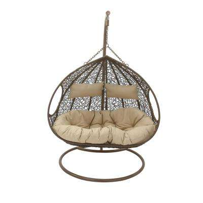 Brown Rattan Suspended Chaise Lounge