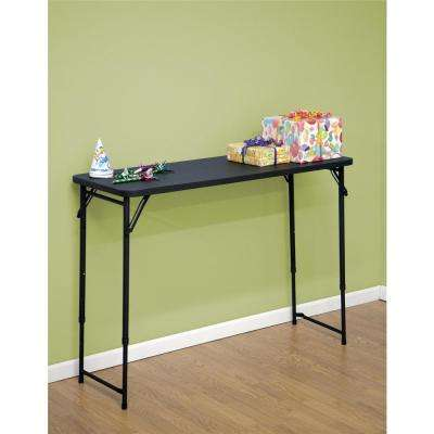 48 in. Black Plastic Portable Adjustable Height Folding High Top Table