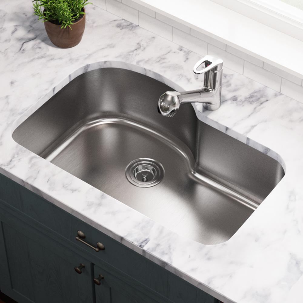 MR Direct Undermount Stainless Steel 31 in. Single Bowl Kitchen Sink