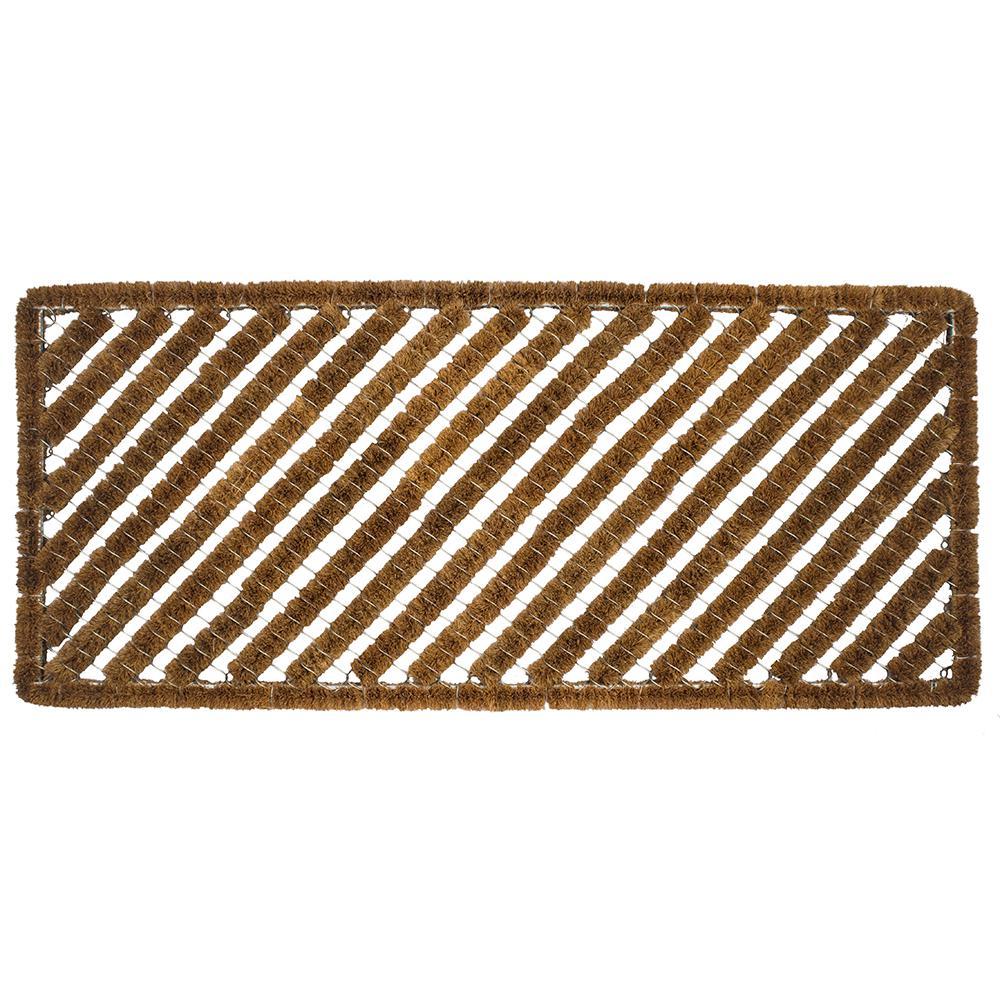 Rectangle Stripes 18 in. x 42 in. Wire Brush Coir Door Mat