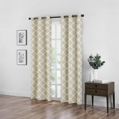 Fret Natural Blackout Window Curtain - 42 in. W x 84 in. L