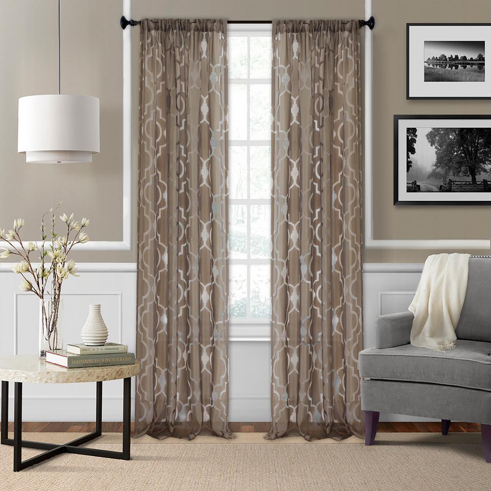 Montego 52 in. W x 84 in. L Ironwork Sheer Window Curtain in Mink