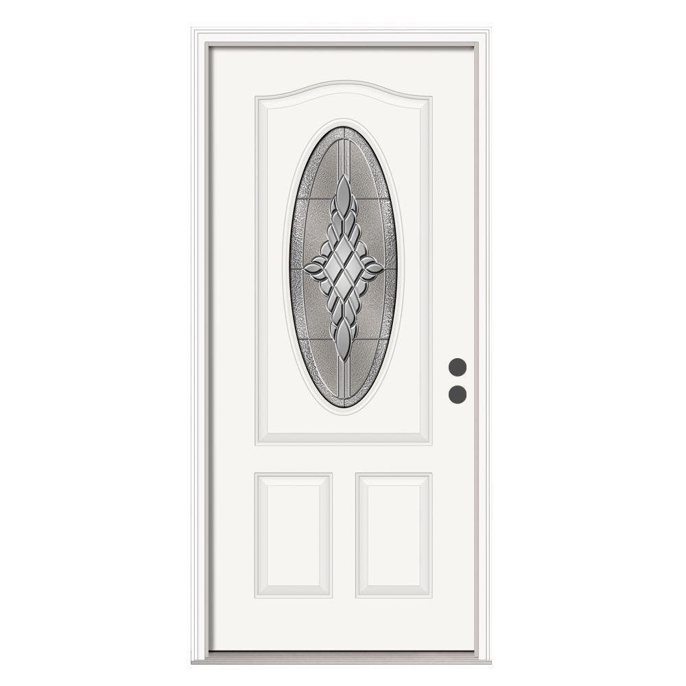 Jeld Wen 36 In X 80 In 3 4 Oval Lite Hadley Primed Steel Prehung Left Hand Inswing Front Door
