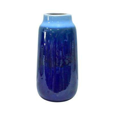 14 in. Blue Ceramic Vase