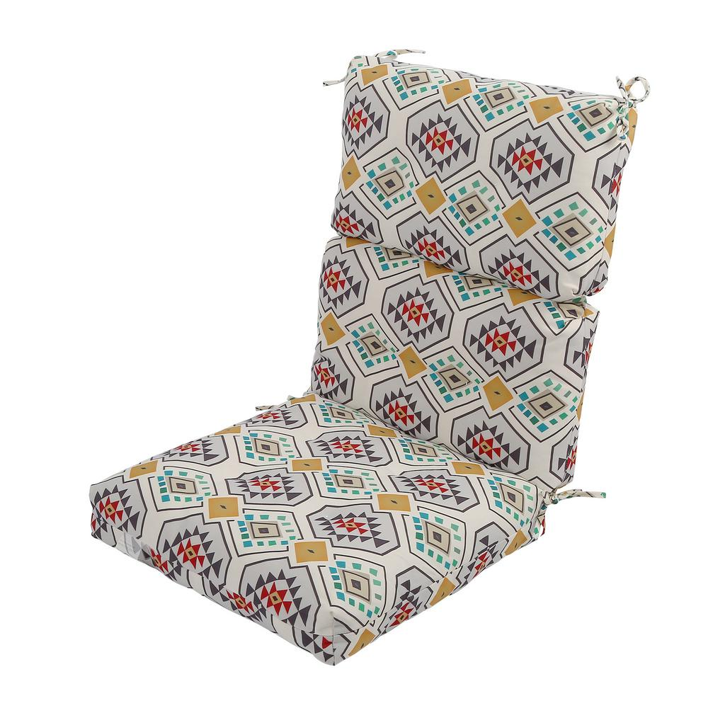 LNC Multicolor Aztec Rectangle Outdoor Dining Chair Seat Cushion