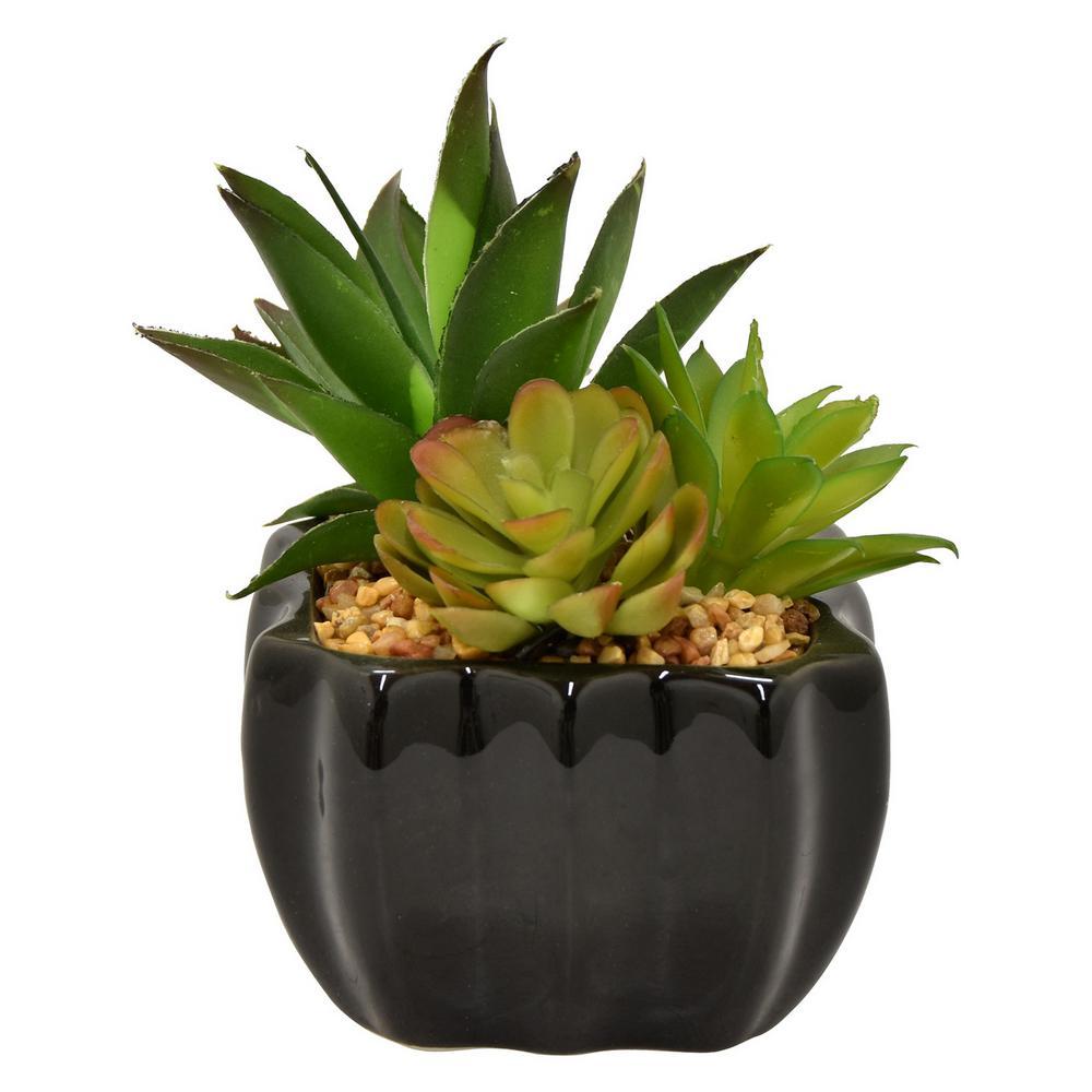 4 in. x 4 in. Green Faux Succulent Pot