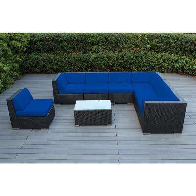 Black 8-Piece Wicker Patio Seating Set with Sunbrella Pacific Blue Cushions