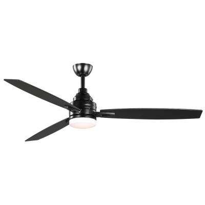 Rowan 60 in. Integrated LED Indoor Matte Black Ceiling Fan with Light Kit and Remote Control
