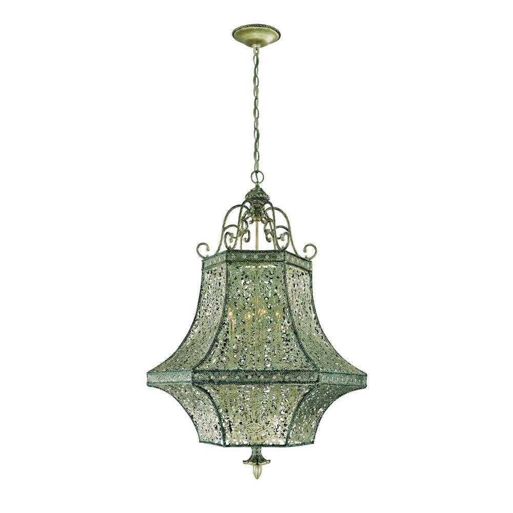 Eurofase Bellini Collection 8-Light Rustic Silver Hanging Large Pendant