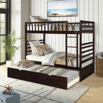 Espresso Twin Bunk Bed Over with Trundle Bed and End Ladder