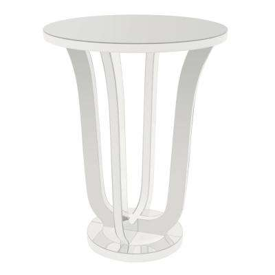 22.75 in. x 22.75 in. White Mirrored Accent Table