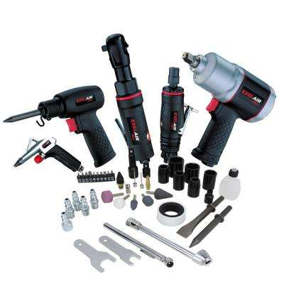 Professional Automotive Composite Air Tool and Accessory Kit with High Torque Impact Wrench (50-Piece)