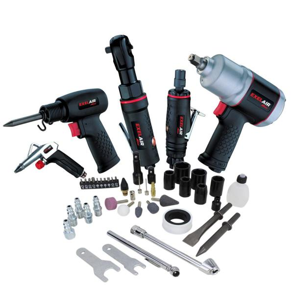 EXELAIR™ by Milton 50-PC Professional Automotive Composite Air Tools & Accessory Kit w/ High Torque Impact Wrench