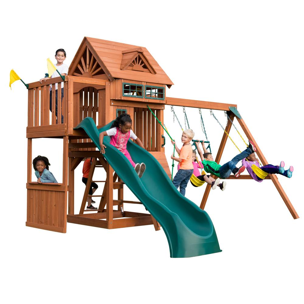 Installed Sky Tower Terrace Wood Complete Swing Set with 5 ft. Terrace and Alpine Wave Slide