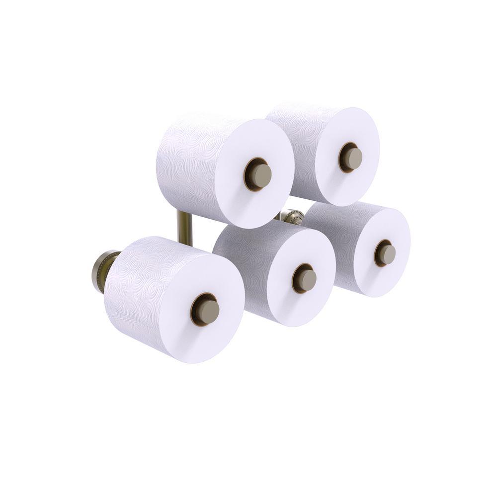 Dottingham 5 Roll Reserve Roll Toilet Paper Holder in Antique Brass