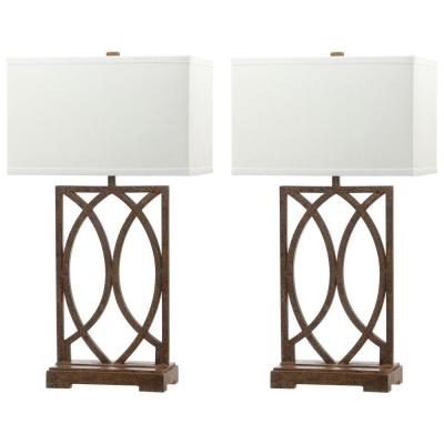 Jago 29.5 in. Antique Gold Arcs Table Lamp with White Shade (Set of 2)
