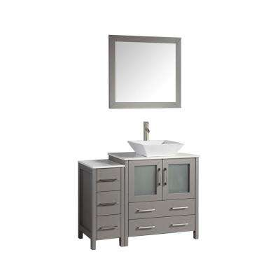 42 in. W x 18.5 in. D x 36 in. H Bathroom Vanity in Grey with Single Basin Vanity Top in White Ceramic and Mirror