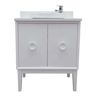 Stora 31 in. W x 22 in. D Bath Vanity in White with Quartz Vanity Top in White with White Round Basin