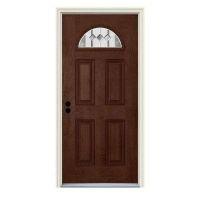 36 in. x 80 in. Right-Hand Fan-Lite Auburn Coffee Bean Stained Fiberglass Prehung Front Door with Brickmould