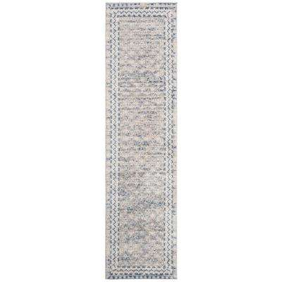 Brentwood Light Gray/Blue 2 ft. x 10 ft. Runner Rug