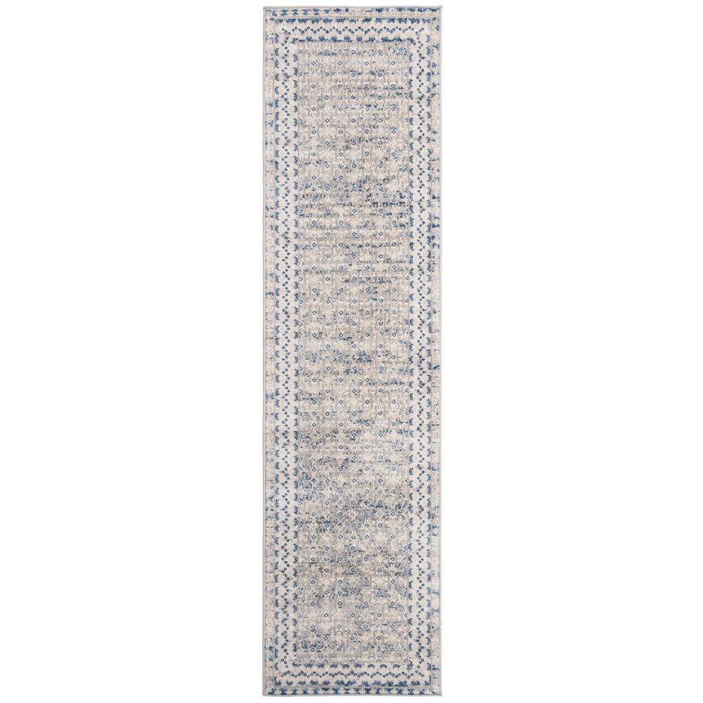 Brentwood Light Grey/Blue 2 ft. x 16 ft. Runner Rug