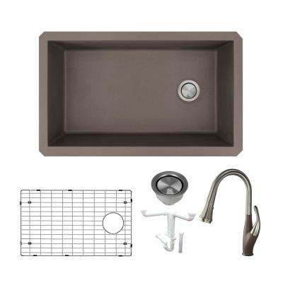 Radius All-in-One Undermount Granite 32 in. Single Bowl Kitchen Sink with Faucet in Espresso
