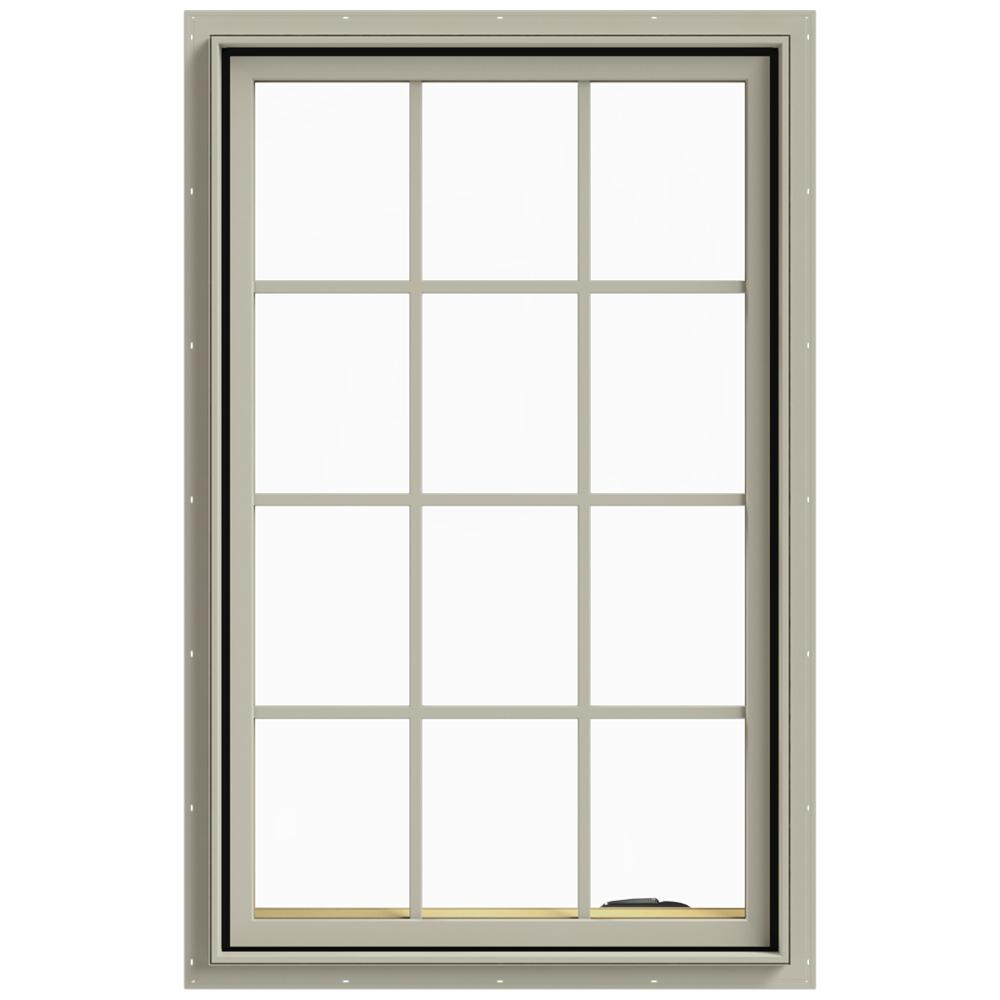 JELD-WEN 30 in. x 48 in. W-2500 Series Desert Sand Painted Clad Wood Right-Handed Casement Window with Colonial Grids/Grilles