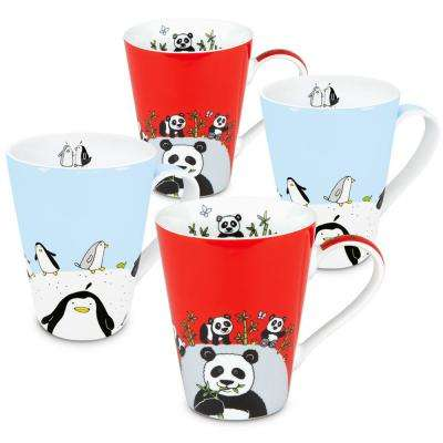 Konitz 4-Piece Assorted Globetrotter Penguin and Panda Porcelain Mug Set