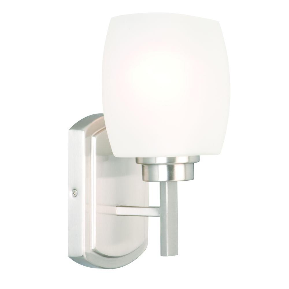 Tamworth 1 Light Brushed Nickel Sconce With Frosted Glass Shade
