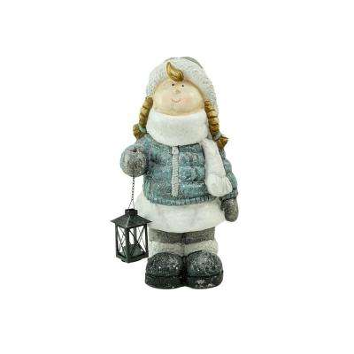 18 in. Snowy Woodlands Little Girl Holding Tea Light Lantern Christmas Figure