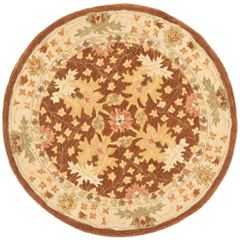 safavieh anatolia brown beige 4 ft x 4 ft round area rug an540b 4r the home depot. Black Bedroom Furniture Sets. Home Design Ideas