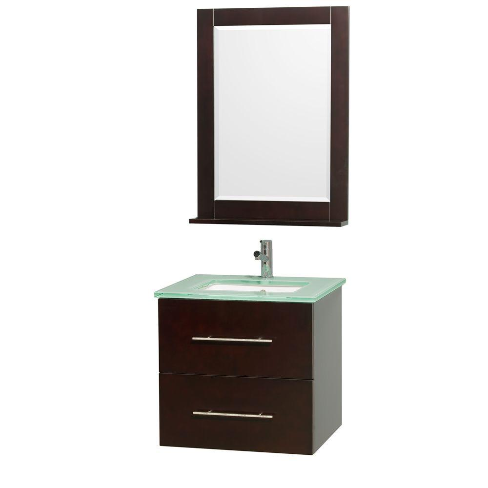 Wyndham Collection Centra 24 in. Vanity in Espresso with Glass Vanity Top in Aqua and Square Porcelain Undermounted Sink